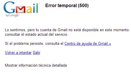 Imagen - Gmail experimenta problemas:  Error temporal (500)