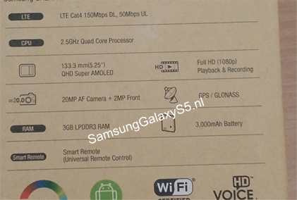 Imagen - Una caja desvela las características oficiales del Samsung Galaxy S5