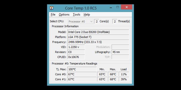 Monitorizar la temperatura del procesador con Core Temp