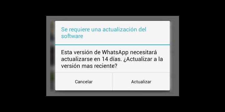 WhatsApp abre un extraño aviso de una actualización inexistente