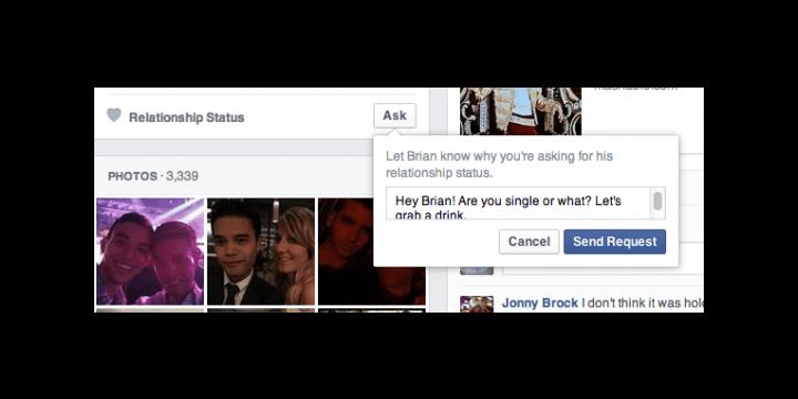 Facebook añade un botón para preguntar sobre el estado sentimental