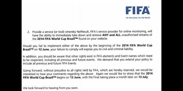 La FIFA advierte a las webs de streaming