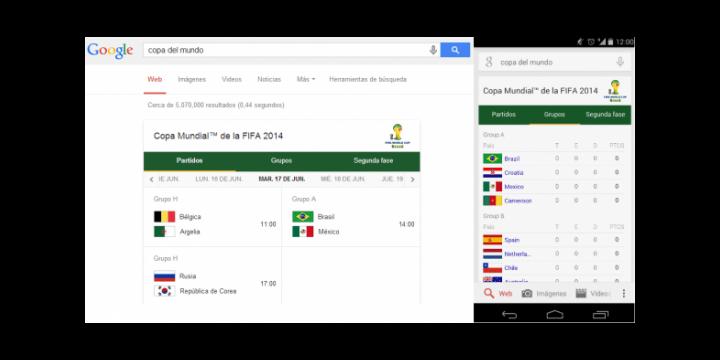 La programación de partidos, grupos y resultados del Mundial 2014 ahora en Google