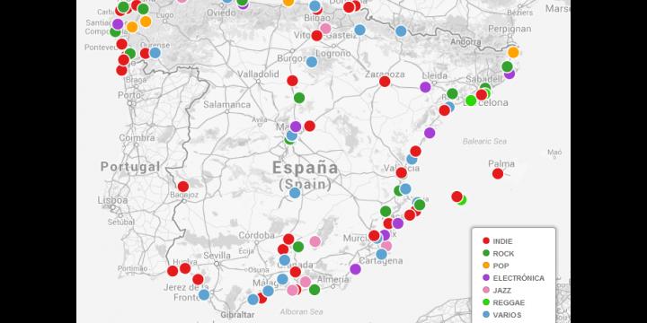 Todos los festivales del verano en Google Maps