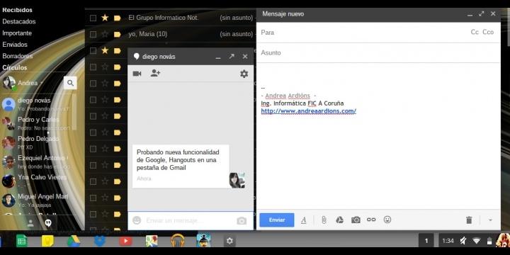 Gmail integra Hangouts en una pestaña