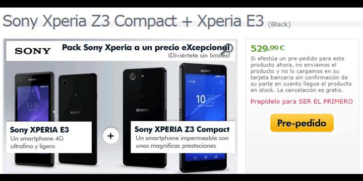Sony Xperia Z3 Compact + Xperia E3 en oferta por solo 529€