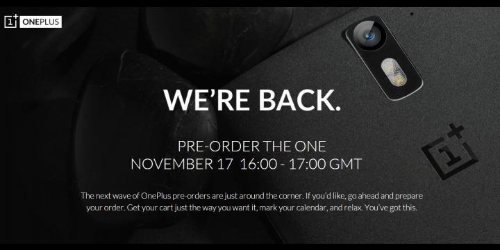 OnePlus One: nueva pre-order para el 17 de noviembre