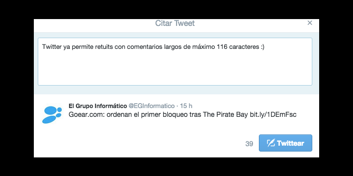 Twitter ahora permite hacer largos comentarios en Retweets