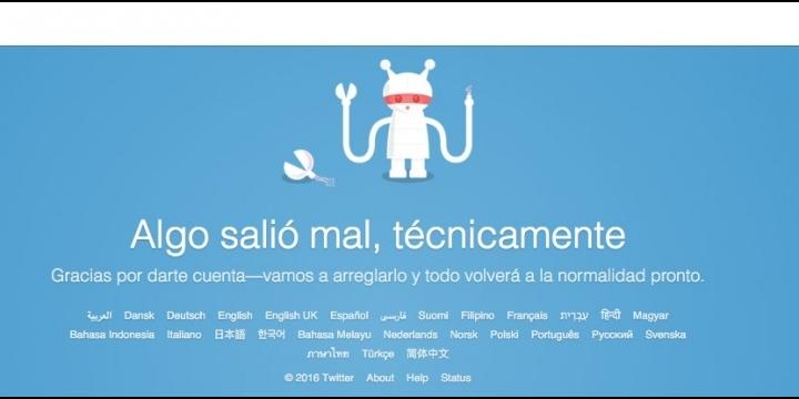 "Twitter está caído: ""algo salió mal técnicamente"""