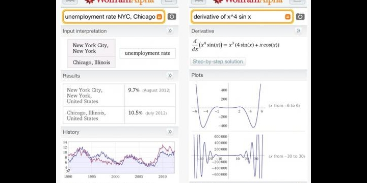 Wolfram Alpha, una app para buscar contenido de todo tipo