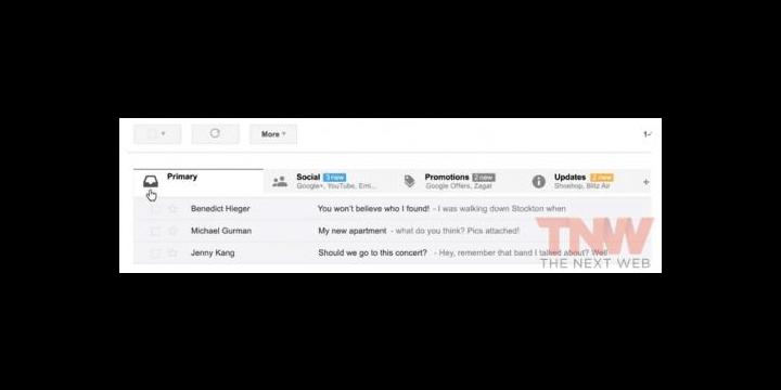 Gmail se rediseñará con pestañas para organizar el correo