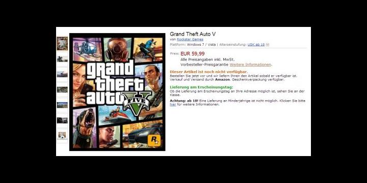 Amazon Alemania filtra precio y disponibilidad de Grand Theft Auto V para PC