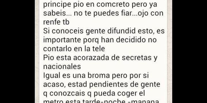 Una cadena de WhatsApp alerta de la colocación de bombas en Madrid