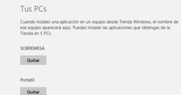 Eliminar un dispositivo de la tienda de Windows 8
