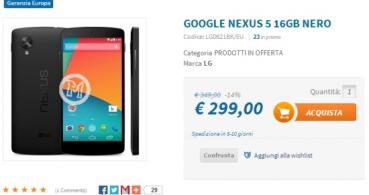 El Nexus 5 baja de los 349 euros