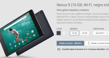 Nexus 9 ya a la venta en Google Play desde 389 euros