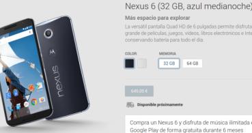 El Nexus 6 ya está en Google Play desde 649 euros