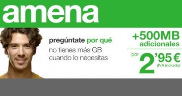 Amena lanza bonos de datos 500 MB por 2,95 euros