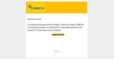 """""""Su paquete está esperando la entrega"""", un email suplanta a Correos pidiendo un pago"""