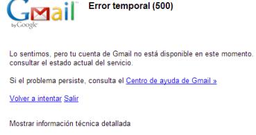 Gmail experimenta problemas:  Error temporal (500)