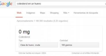 Google Search ya muestra resultados nutricionales en español