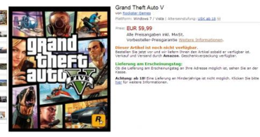 Amazon Alemania filtra precio y disponibilidad de Grand Theft Auto V para PC