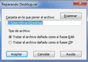 Reparar un archivo comprimido en WinRar