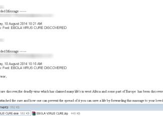 El ébola, protagonista de un virus informático