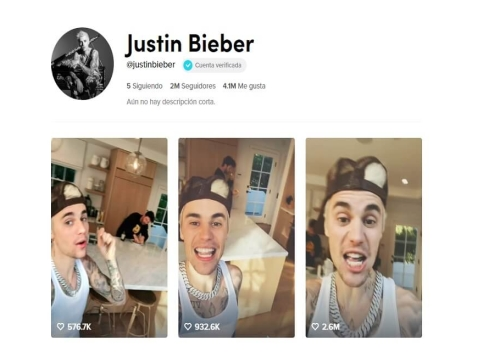 Justin Bieber llega a TikTok y ya tiene más de 2 millones de seguidores