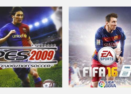 Todas las portadas de FIFA y PES que nos ha dejado Messi con el F. C. Barcelona