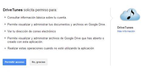 Utilizar Google Drive como reproductor de música
